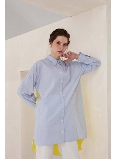 Vivencia Arkası Kumaş Mixli Kadın Gömlek Mavi Mavi